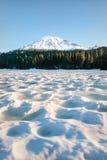 Zet Regenachtiger van een snow-covered Bezinningsmeer op stock afbeeldingen