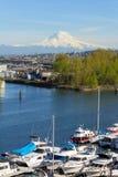 Zet Regenachtiger van Tacoma Marina Daytime op stock afbeeldingen