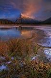 Zet Rundle bij zonsondergang op stock fotografie