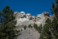 Zet rushmore nationaal gedenkteken op Stock Foto's