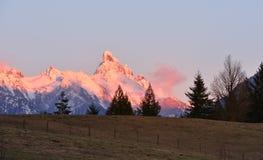 Zet Slesse bij zonsondergang op Stock Fotografie