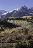 Zet Sneffels-Bergketen in de Herfst op Stock Foto