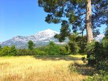 Zet Takhtali en de vallei op Stock Foto