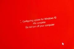Zet uw computer niet tijdens het vormen Vensters 10 Upgr uit Stock Foto's
