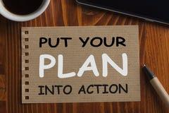 Zet uw plan in actie stock foto's