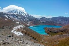 Zet van het het Meerlandschap van Ruapehu en Tama-het Nationale Park van Tongariro, N op royalty-vrije stock afbeelding