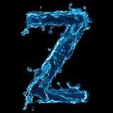 Zeta della lettera della spruzzata dell'acqua Fotografia Stock