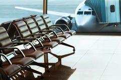 Zetels, mening van luchthavenzaal royalty-vrije stock afbeeldingen