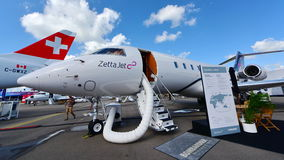 Zetta Jet Bombardier Global 5000 business jet on display at Singapore Airshow Stock Images