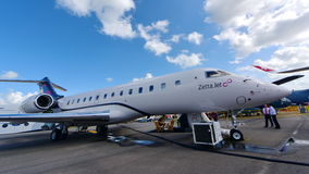 Zetta Jet Bombardier Global 5000 business jet on display at Singapore Airshow Stock Photo
