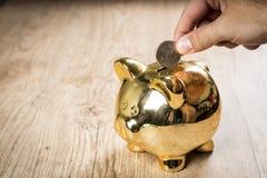 Zetten 50 centen van dollarmuntstuk in een spaarvarken Stock Foto's