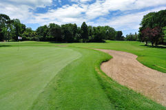 Zetten groen op weelderige golfcursus Royalty-vrije Stock Fotografie