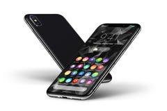 Zetten perspectief zwarte smartphones met materieel ontwerp vlakke UI voorkant en achterkant om royalty-vrije illustratie