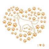 Zettersilhouet op achtergrond van hondsporen en beenderen in F Royalty-vrije Stock Afbeeldingen