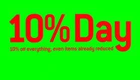zeuge angebot Verkauf marke 10% weg Rosafarbener und gelber Verkauf Stockbild