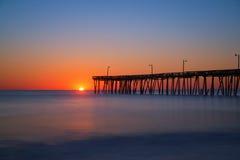 Zeurt Hoofdpier long exposure sunrise stock afbeelding