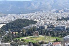 Zeus świątynny widok od akropolu obraz stock
