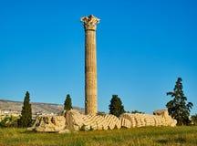 zeus виска олимпийца Афины, Attica, Греция Стоковое Изображение