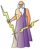 Zeus. A cartoon drawing of the Greek God Zeus also known as the Roman god Jupiter holding his signature lightning bolts Stock Photography