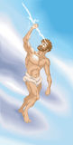 Zeus. Jupiter or Jove from classical, Greek or Roman mythology wielding a lightning bolt. No meshes used Stock Photography