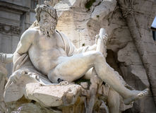 Zeus in Bernini`s fountain of Four Rivers in Piazza Navona, Rome Royalty Free Stock Photography
