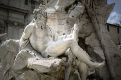 Zeus in Bernini`s fountain of Four Rivers Stock Photography