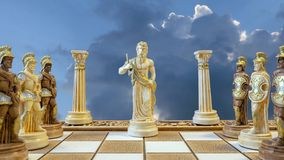 Zeus Chess Piece and Soldiers. Greek God Zeus as Chess Piece Surrounded by His Soldiers or Pawns stock image