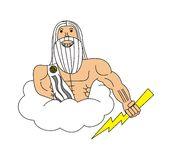 Zeus on the cloud with a bolt. My illustration of the greek god Zeus with  a bolt in his hand Royalty Free Stock Image
