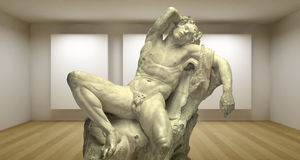 Zeus, Empty Gallery, 3d Room With Greek Sculture, Ancient Statue Stock Image