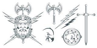 Zeus - gammalgrekiskaguden av himmel, åska och blixt grekisk mythology Dubbelsidig yxalabrys och örn Olympiska gudar Royaltyfria Foton