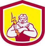 Zeus Greek God Arms Cross Retro Thunderbollt Royalty-vrije Stock Afbeelding