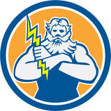 Zeus Greek God Arms Cross Thunderbollt Circle Retro Stock Photography