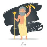 Zeus. Greek gods. Vector. Illustration. Cartoon character Isolated Flat Mythology Royalty Free Stock Photography