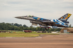 Zeus Hellenic F16 Lands at RIAT. RAF FAIRFORD, UK - 6 JULY: A Hellenic Air Force  F16 in Zeus Colour scheme lands at The Royal International Air Tattoo on 6th Royalty Free Stock Images