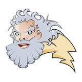 Zeus and lightning. Cartoon illustration of zeus and lightning Stock Photo