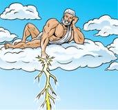 Zeus lightning. Zeus is striking down mortals with a lightning bolt Stock Image