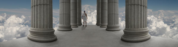 Zeus on Mount Olympus. Zeus standing in a temple on Mount Olympus Stock Photo
