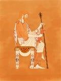 Zeus Seated met Sceptre en Blikseminslag - Oud Grieks Aardewerk rood-Cijfer stock afbeeldingen