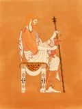 Zeus Seated with Sceptre and Thunderbolt  - Ancient Greek Pottery Red-figure. Zeus seated with sceptre and thunderbolt, based on ancient greek pottery and Stock Images