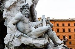 Zeus statua wewnątrz w Bernini fontannie, piazza Navona, Rzym Włochy Zdjęcia Stock