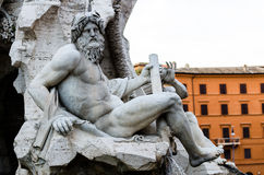 Zeus Statue in in Bernini's Fountain , Piazza Navona, Rome Italy Stock Photos
