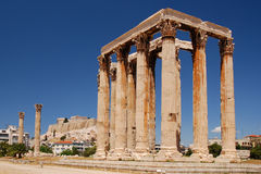 Zeus temple. In Athens, Greece. In the background Parthenon Stock Image