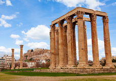 Zeus temple Athens with Acropolis in Greece Stock Images