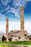 Zeus temple columns and Acropolis Athens, Greece Royalty Free Stock Photography