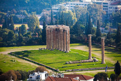 Zeus temple from high spot in Athens, Greece Royalty Free Stock Images