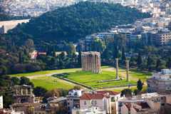 Zeus temple in from top, Athens, Greece Stock Image