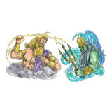Zeus Thunderbolt Vs Poseidon Trident Tattoo Royalty Free Stock Images
