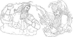 Zeus Vs Poseidon Black and White Drawing Stock Photos
