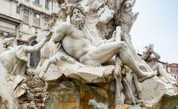 Zeus w Bernini fontannie Cztery rzeki, Rzym obraz royalty free