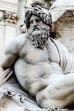 Zeus w fontannie piazza Navona, Rzym Włochy Zdjęcia Stock